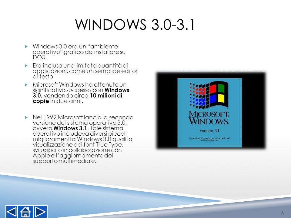 Windows 3.0-3.1Windows 3.0 era un ambiente operativo grafico da installare su DOS.