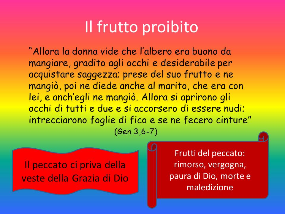 Il frutto proibito Il peccato ci priva della veste della Grazia di Dio