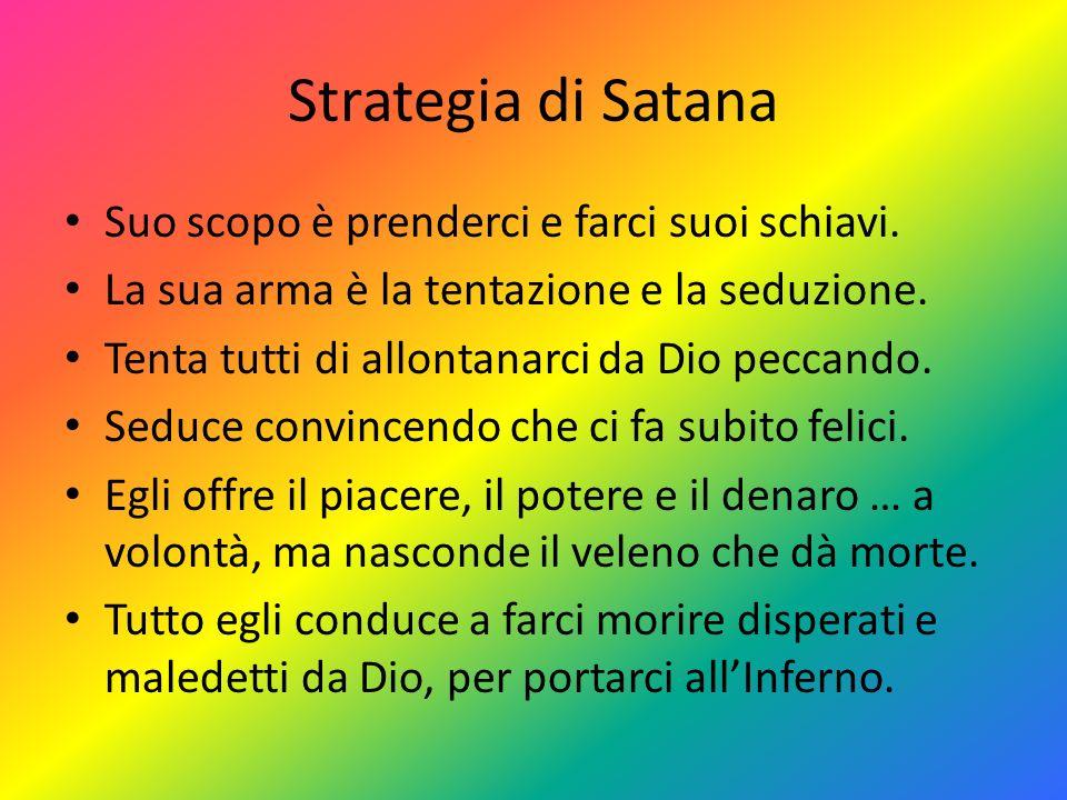 Strategia di Satana Suo scopo è prenderci e farci suoi schiavi.