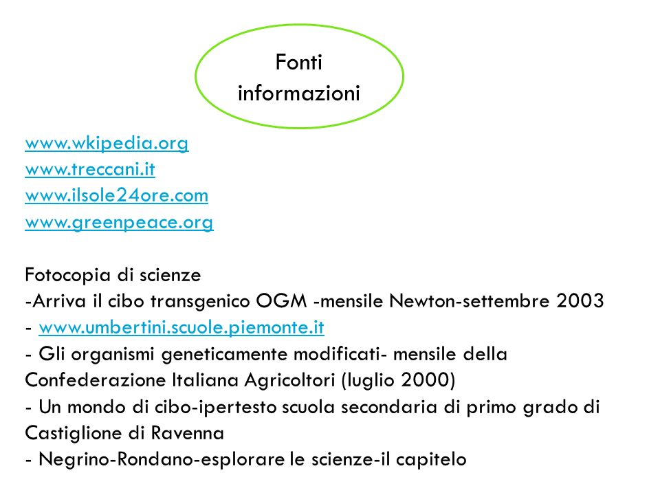 Fonti informazioni www.wkipedia.org www.treccani.it