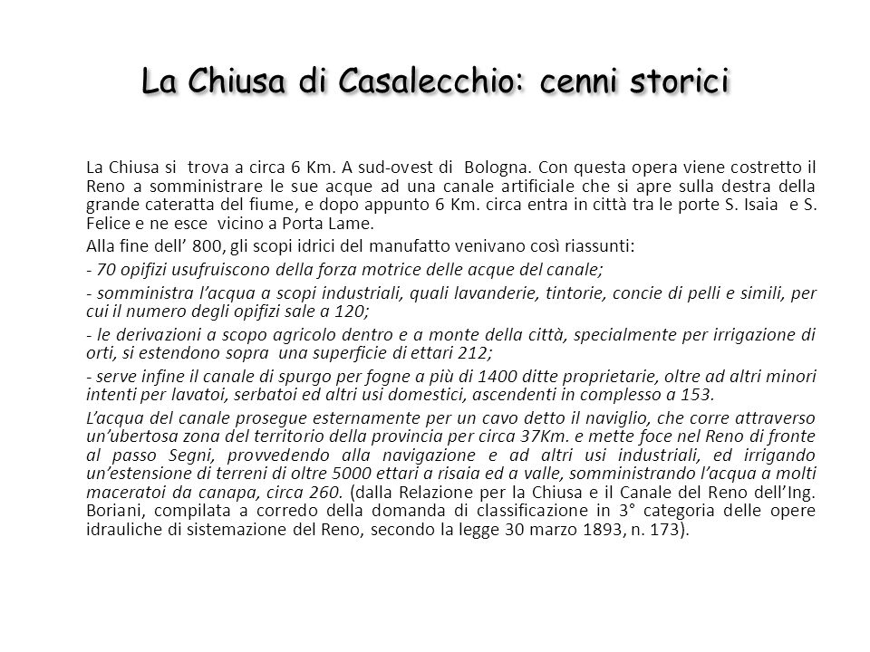 La Chiusa di Casalecchio: cenni storici
