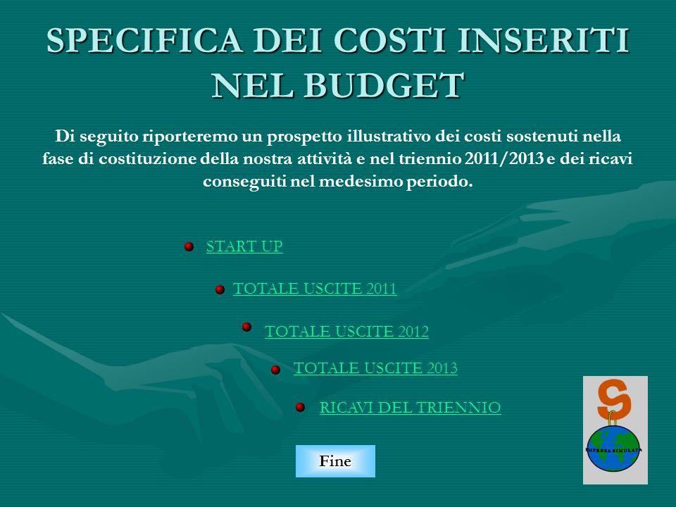 SPECIFICA DEI COSTI INSERITI NEL BUDGET