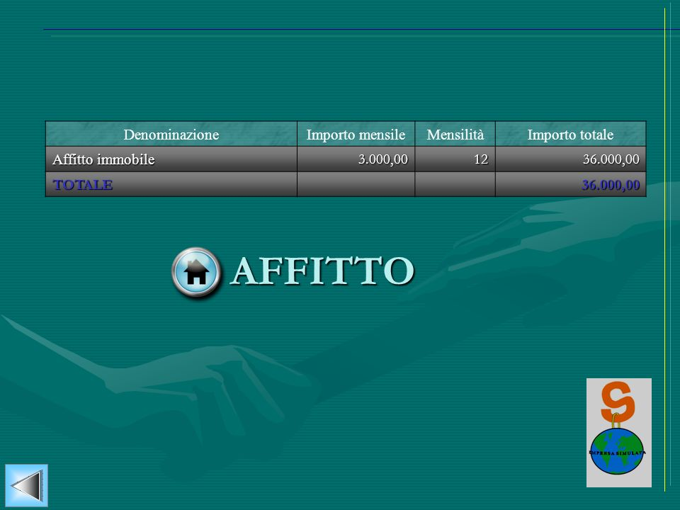 AFFITTO Denominazione Importo mensile Mensilità Importo totale