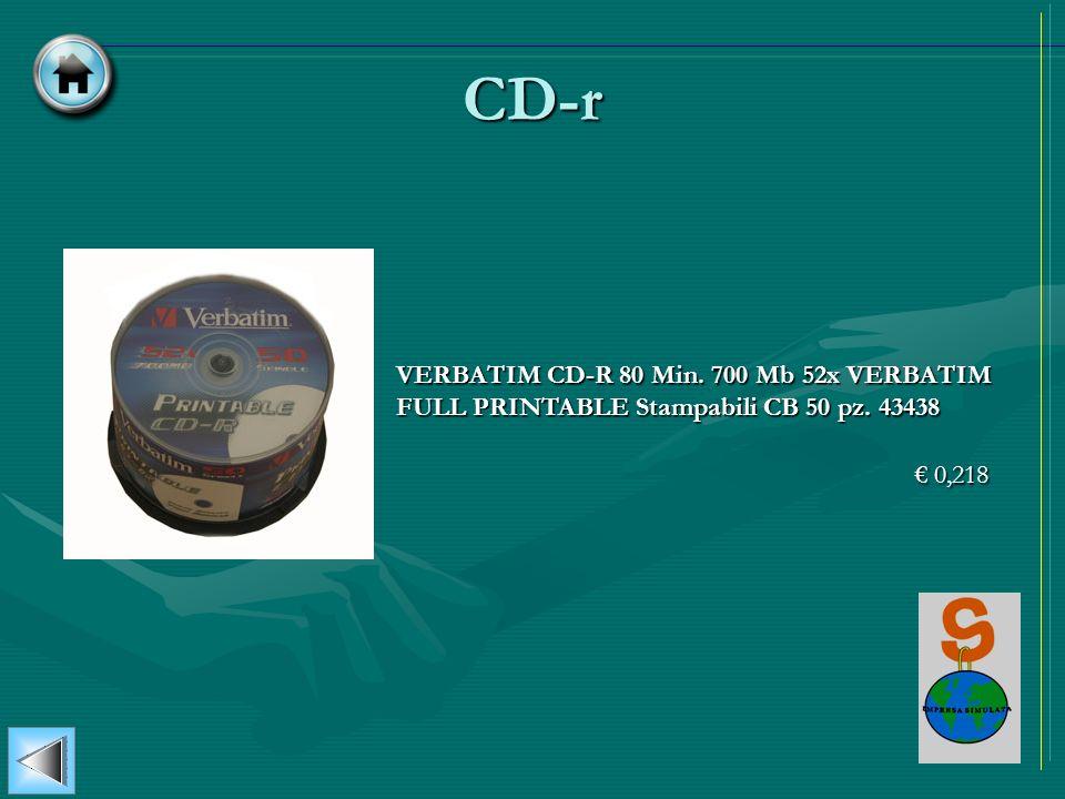 CD-r VERBATIM CD-R 80 Min. 700 Mb 52x VERBATIM FULL PRINTABLE Stampabili CB 50 pz. 43438 € 0,218