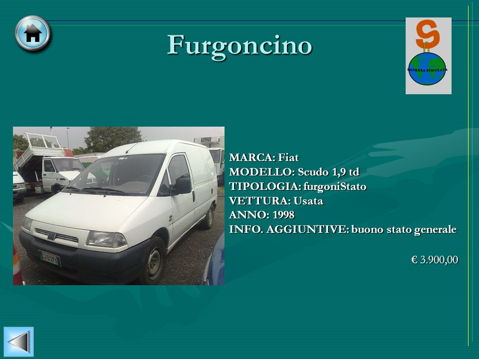 Furgoncino MARCA: Fiat MODELLO: Scudo 1,9 td TIPOLOGIA: furgoniStato