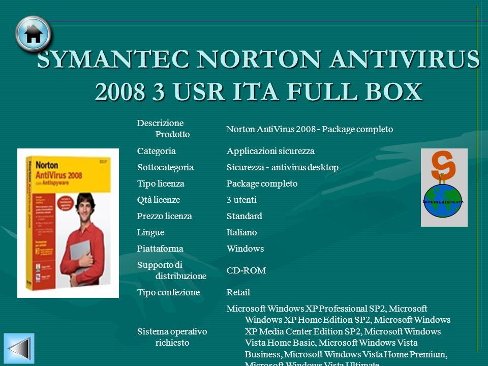 SYMANTEC NORTON ANTIVIRUS 2008 3 USR ITA FULL BOX
