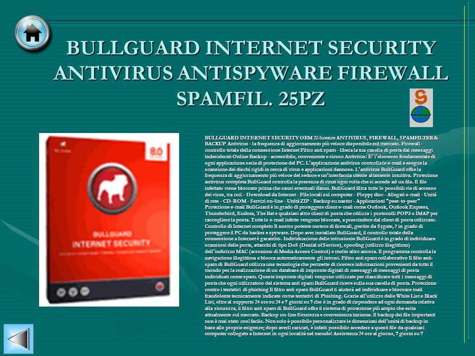 BULLGUARD INTERNET SECURITY ANTIVIRUS ANTISPYWARE FIREWALL SPAMFIL