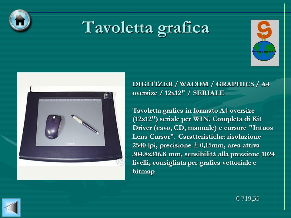 Tavoletta grafica DIGITIZER / WACOM / GRAPHICS / A4 oversize / 12x12 / SERIALE.