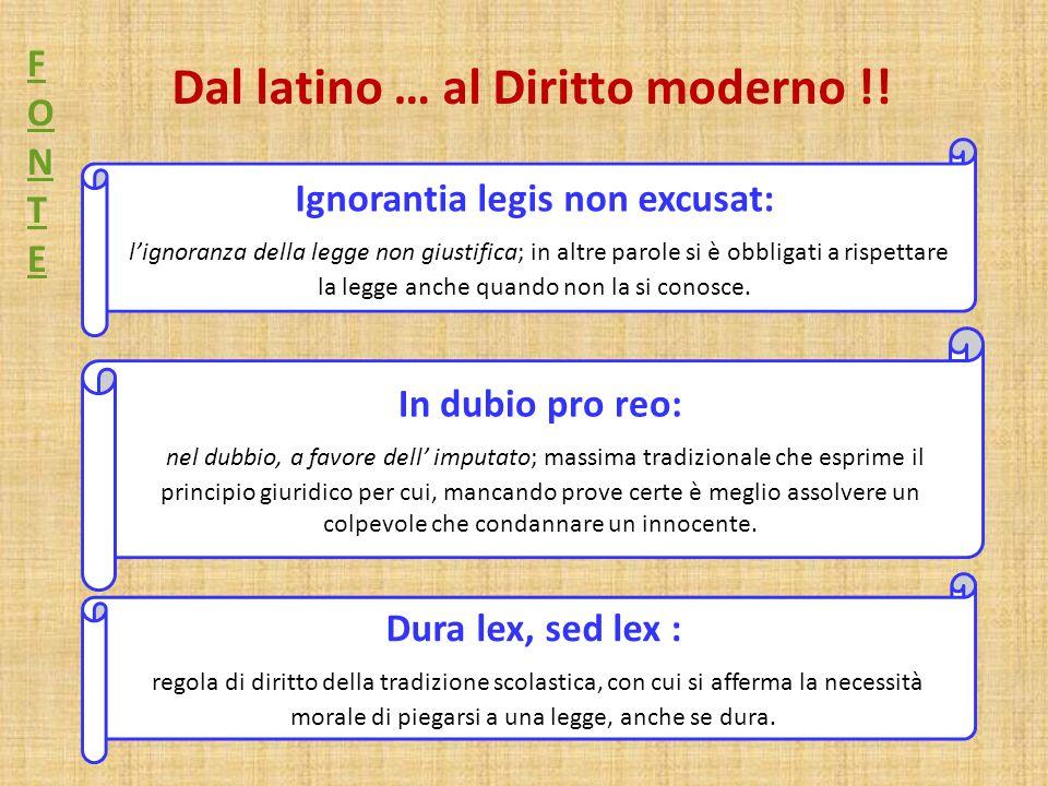 Dal latino … al Diritto moderno !!