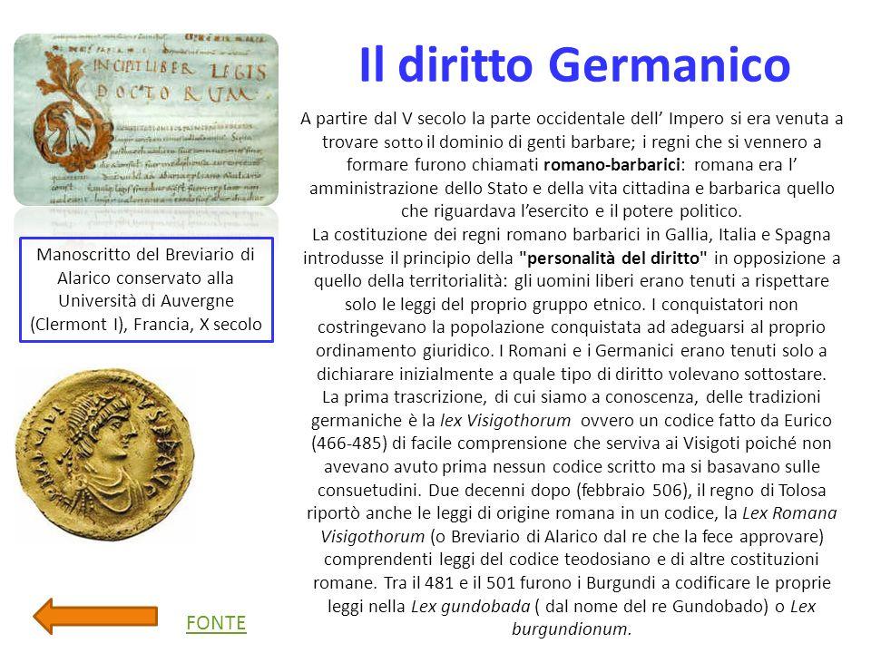 Il diritto Germanico FONTE