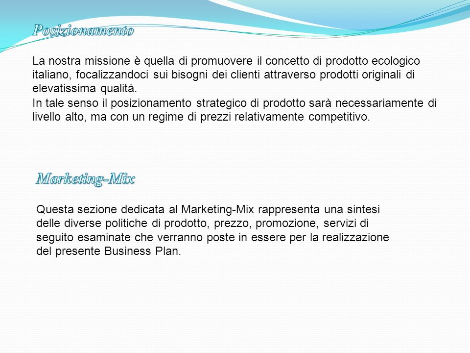 Posizionamento Marketing-Mix