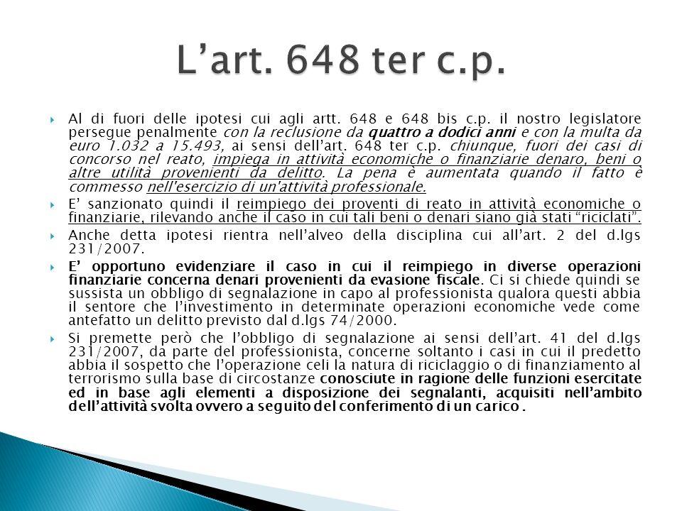 L'art. 648 ter c.p.