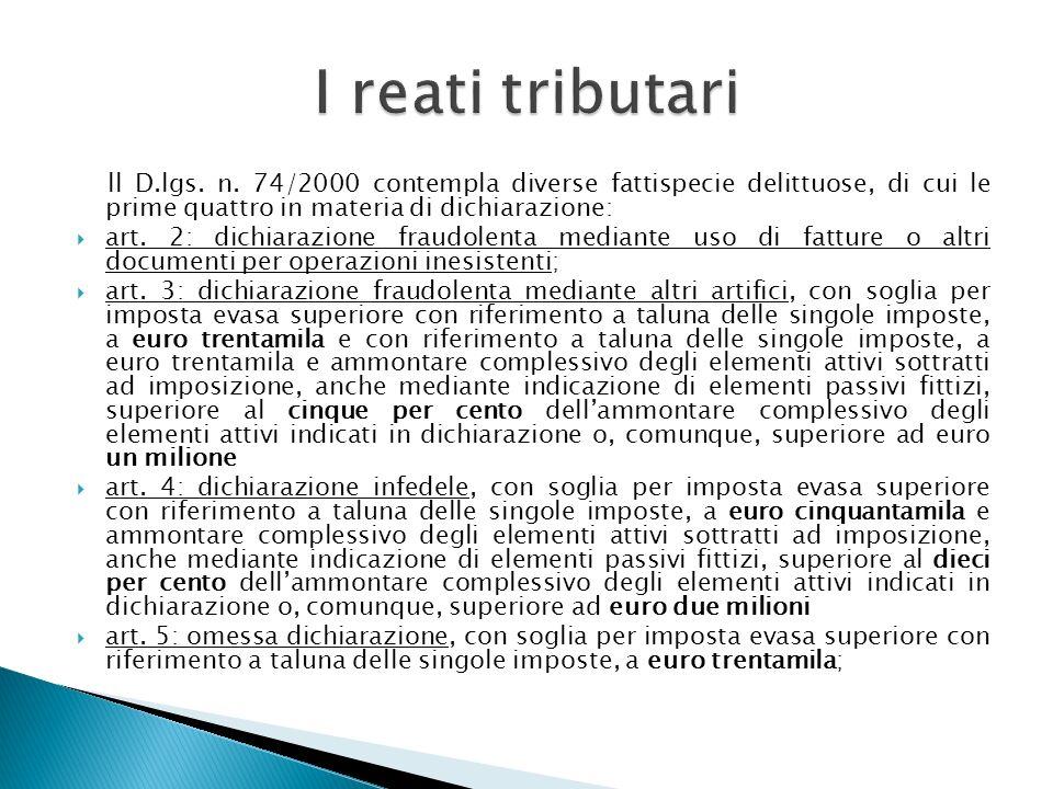 I reati tributarill D.lgs. n. 74/2000 contempla diverse fattispecie delittuose, di cui le prime quattro in materia di dichiarazione: