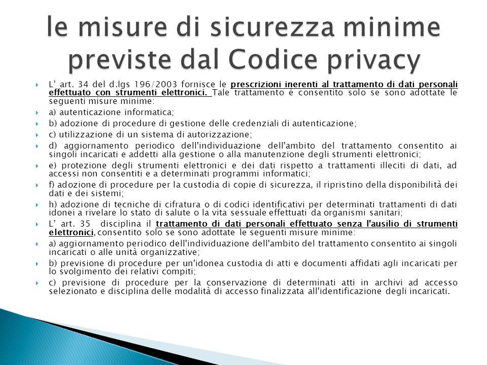 le misure di sicurezza minime previste dal Codice privacy