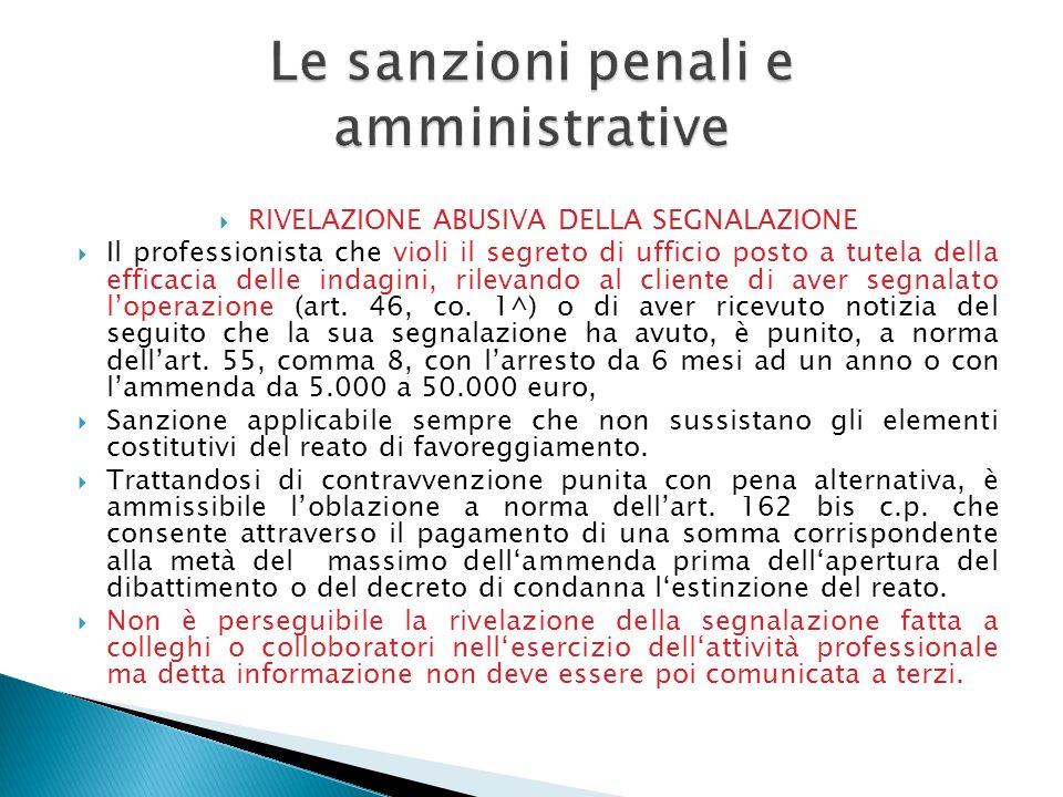 Le sanzioni penali e amministrative
