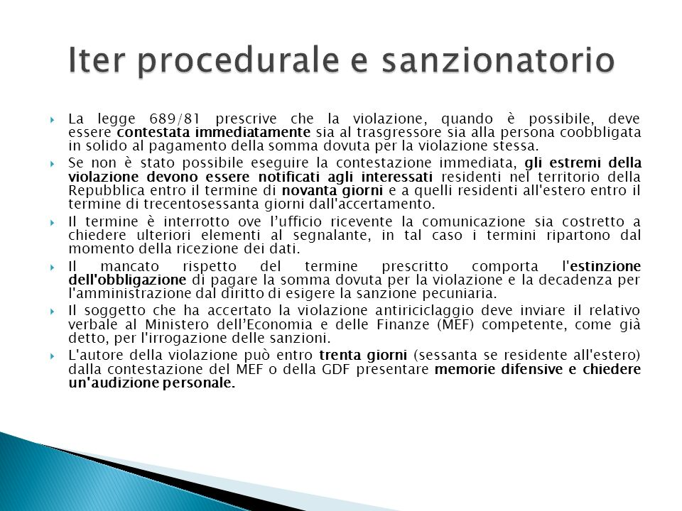 Iter procedurale e sanzionatorio