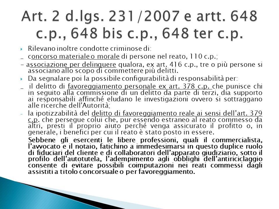 Art. 2 d.lgs. 231/2007 e artt. 648 c.p., 648 bis c.p., 648 ter c.p.