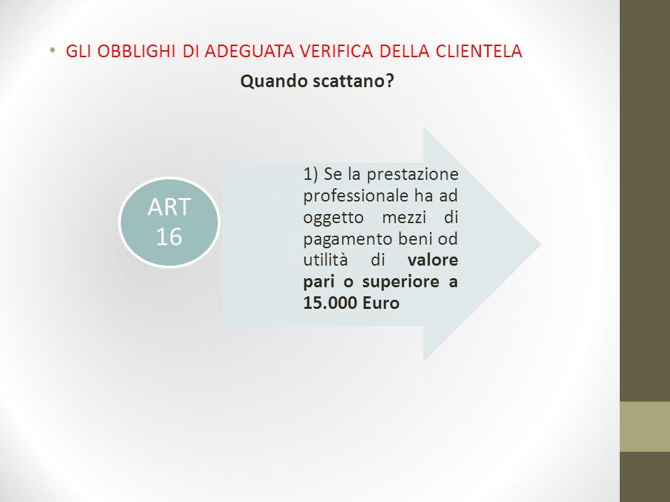 ART 16 GLI OBBLIGHI DI ADEGUATA VERIFICA DELLA CLIENTELA