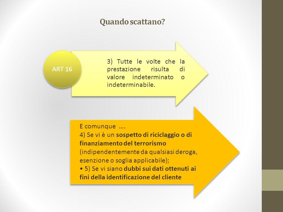 Quando scattano 3) Tutte le volte che la prestazione risulta di valore indeterminato o indeterminabile.