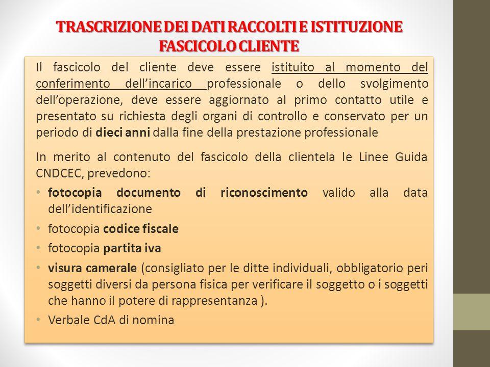 TRASCRIZIONE DEI DATI RACCOLTI E ISTITUZIONE FASCICOLO CLIENTE