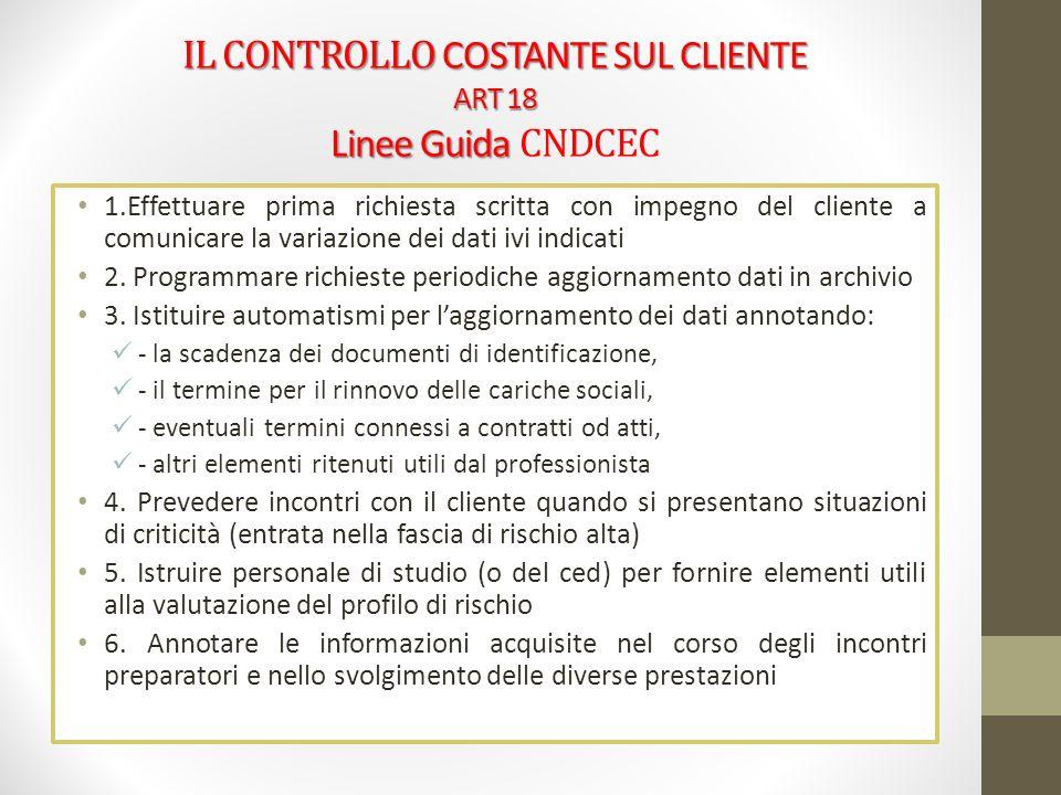 IL CONTROLLO COSTANTE SUL CLIENTE ART 18 Linee Guida CNDCEC