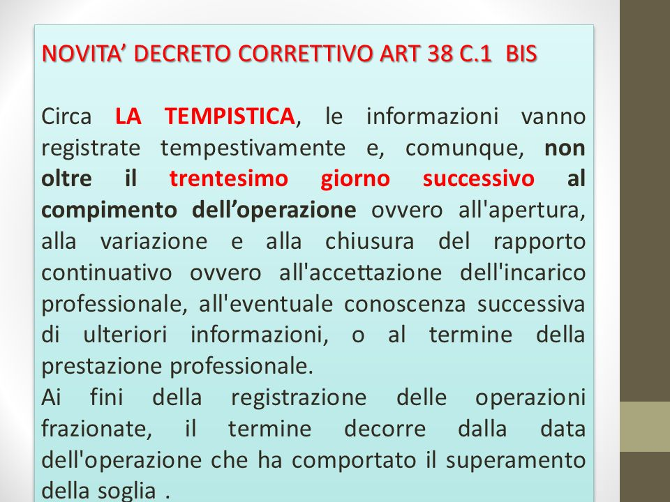 NOVITA' DECRETO CORRETTIVO ART 38 C.1 BIS