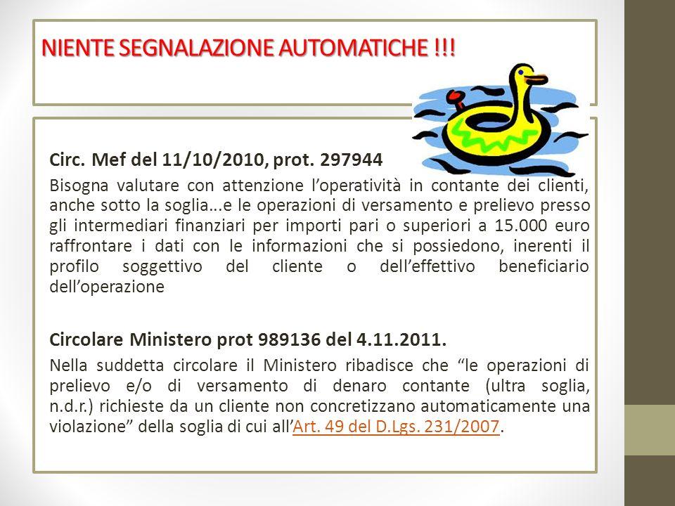 NIENTE SEGNALAZIONE AUTOMATICHE !!!