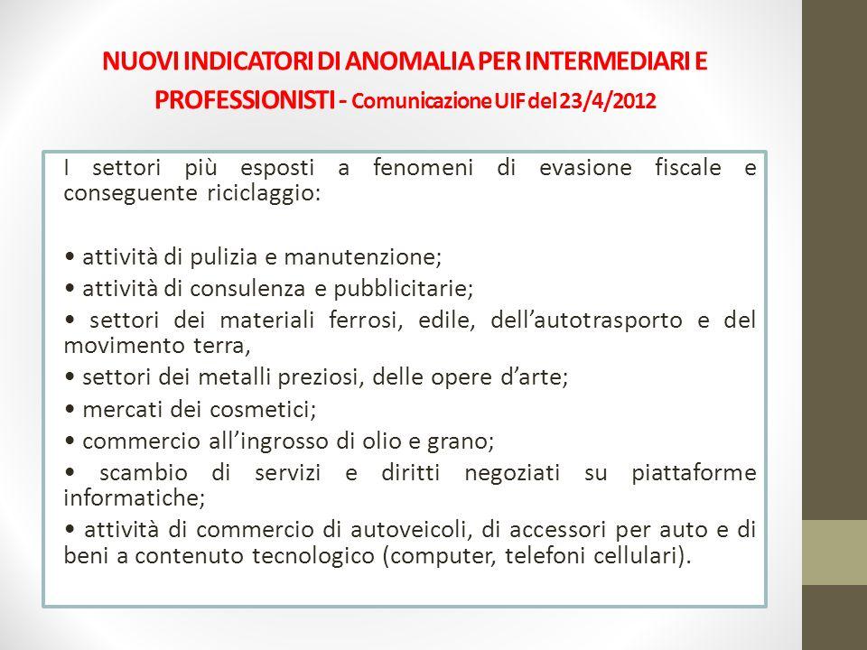 NUOVI INDICATORI DI ANOMALIA PER INTERMEDIARI E PROFESSIONISTI - Comunicazione UIF del 23/4/2012