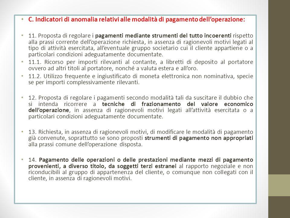 C. Indicatori di anomalia relativi alle modalità di pagamento dell'operazione:
