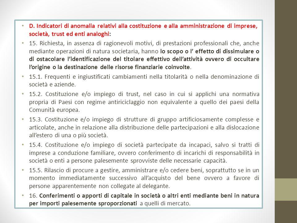 D. Indicatori di anomalia relativi alla costituzione e alla amministrazione di imprese, società, trust ed enti analoghi: