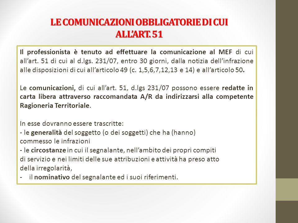 LE COMUNICAZIONI OBBLIGATORIE DI CUI ALL'ART. 51
