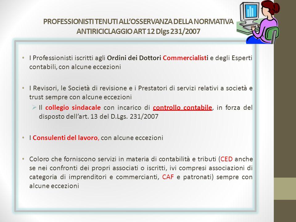 PROFESSIONISTI TENUTI ALL'OSSERVANZA DELLA NORMATIVA ANTIRICICLAGGIO ART 12 Dlgs 231/2007