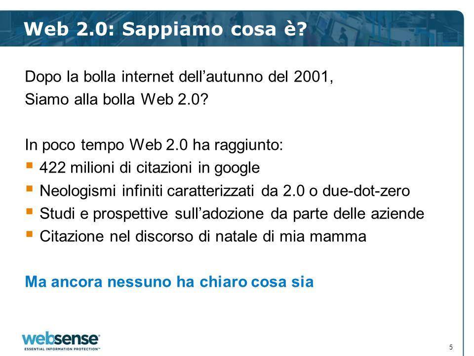 Web 2.0: Sappiamo cosa è Dopo la bolla internet dell'autunno del 2001, Siamo alla bolla Web 2.0 In poco tempo Web 2.0 ha raggiunto: