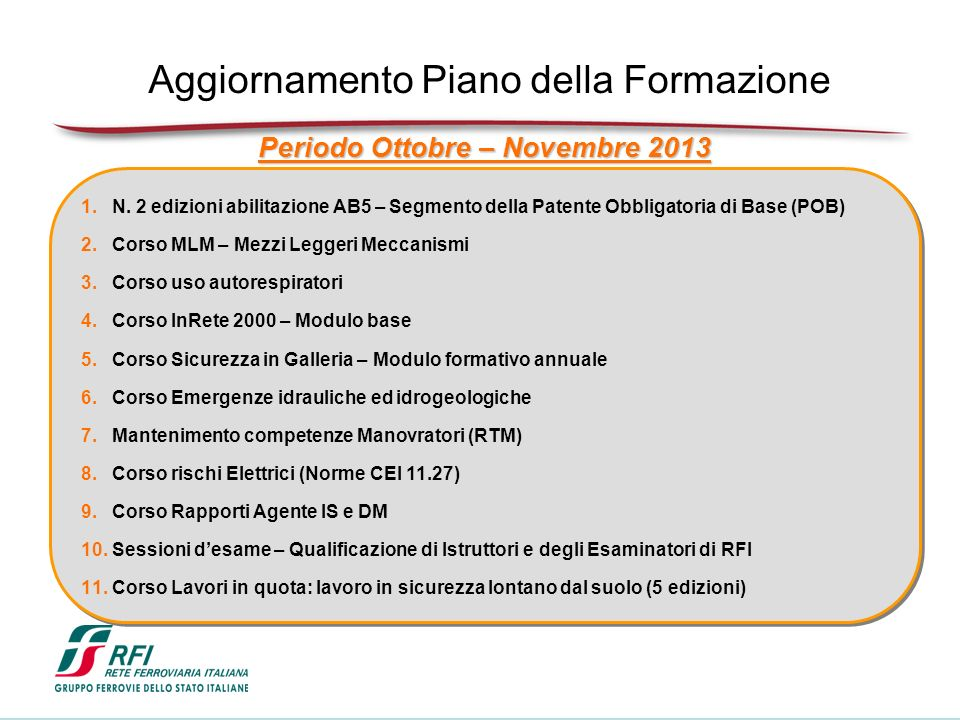 Periodo Ottobre – Novembre 2013