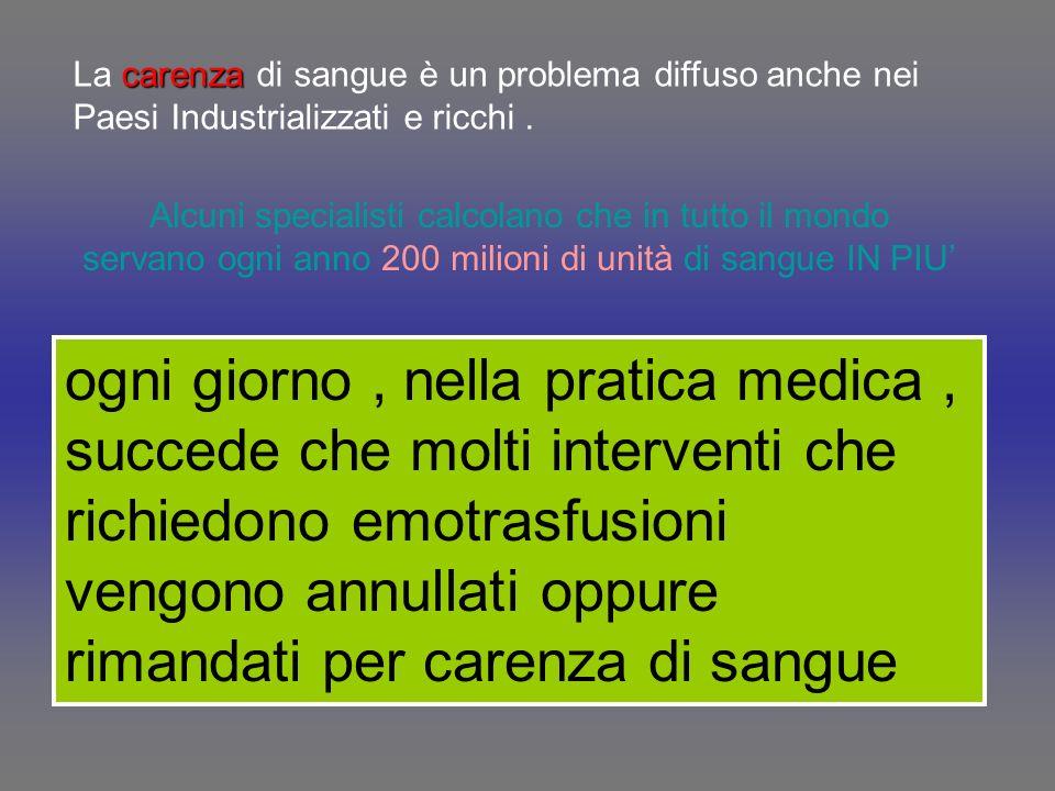 La carenza di sangue è un problema diffuso anche nei Paesi Industrializzati e ricchi .