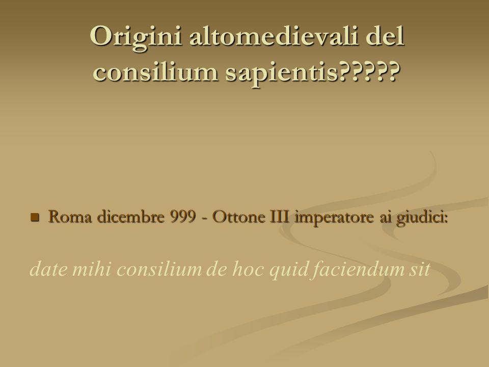 Origini altomedievali del consilium sapientis