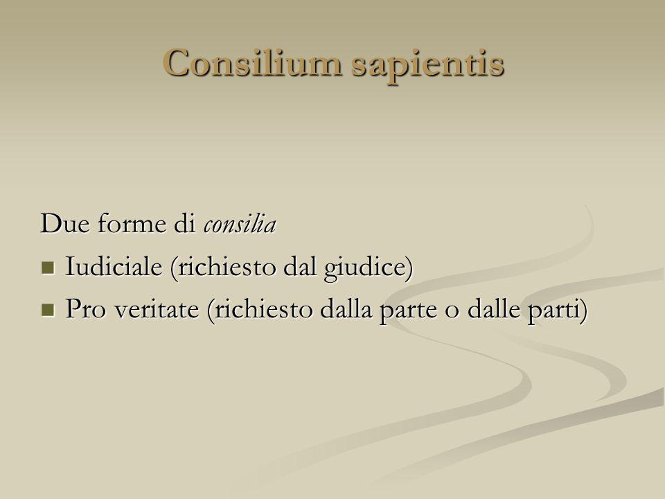 Consilium sapientis Due forme di consilia