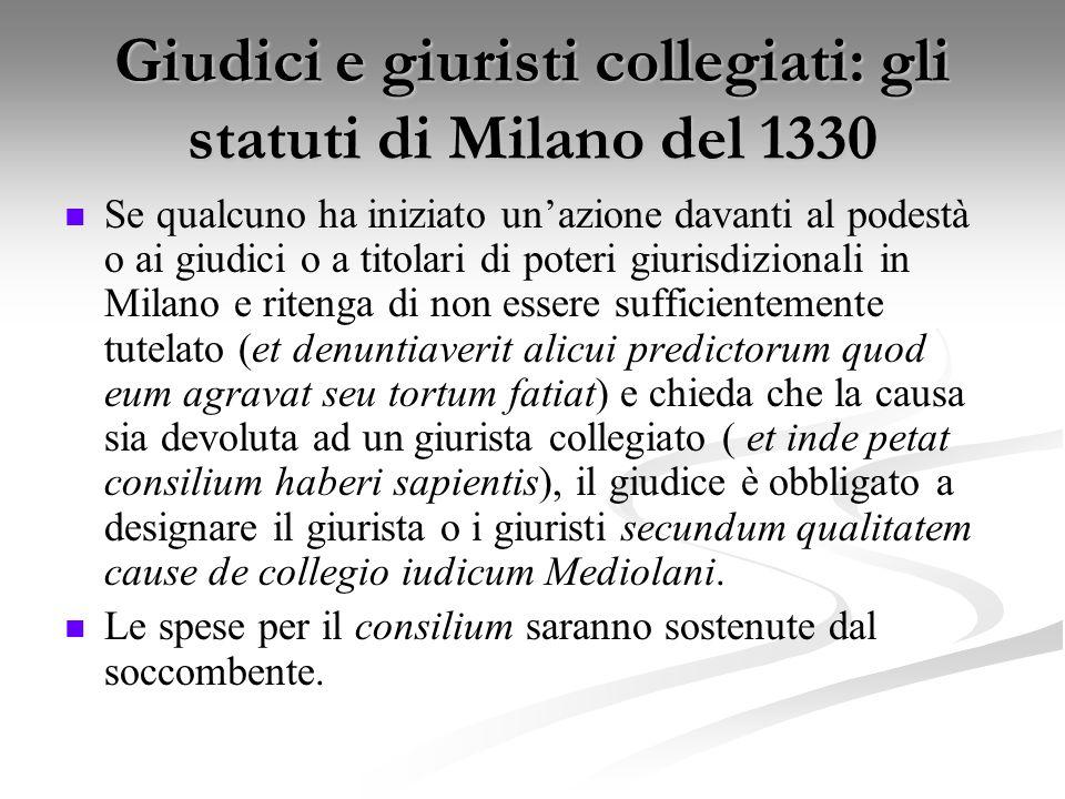 Giudici e giuristi collegiati: gli statuti di Milano del 1330