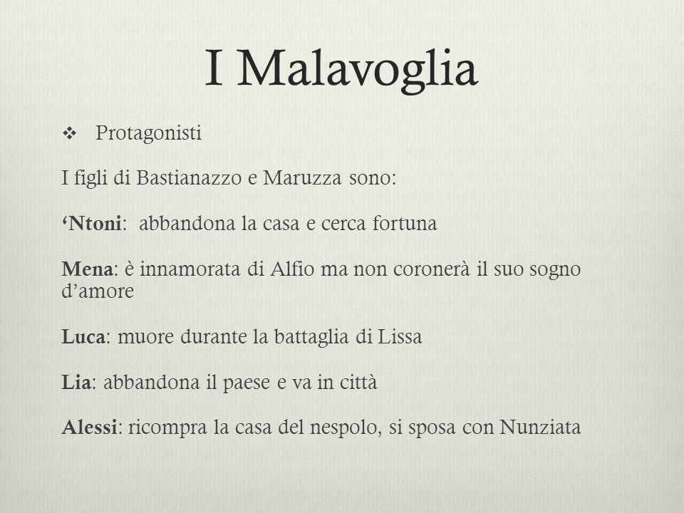 I Malavoglia Protagonisti I figli di Bastianazzo e Maruzza sono: