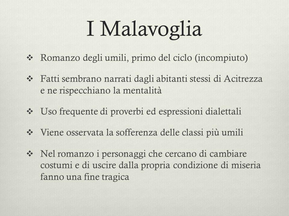I Malavoglia Romanzo degli umili, primo del ciclo (incompiuto)