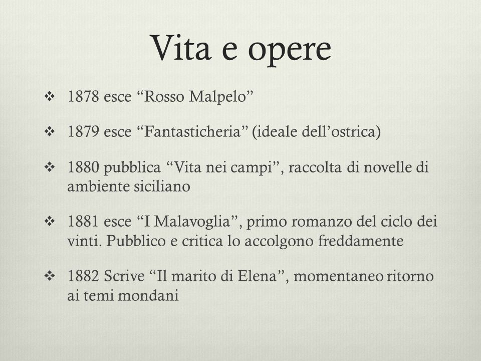 Vita e opere 1878 esce Rosso Malpelo