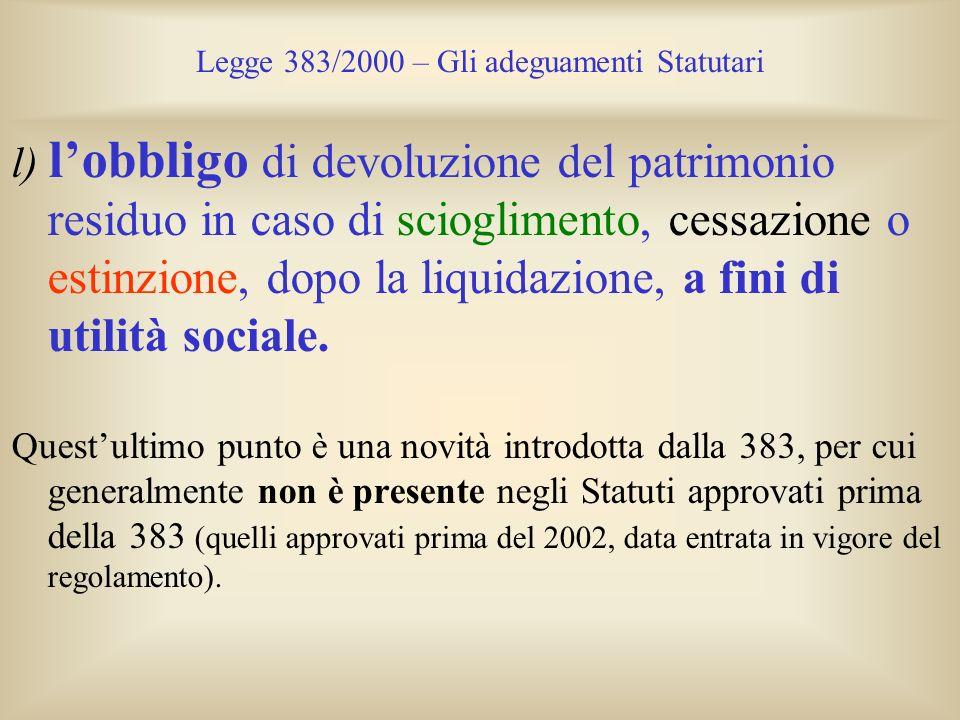 Legge 383/2000 – Gli adeguamenti Statutari