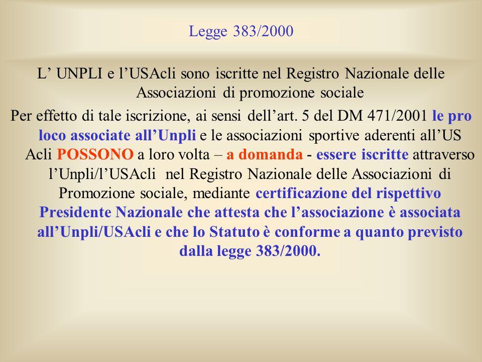 Legge 383/2000 L' UNPLI e l'USAcli sono iscritte nel Registro Nazionale delle Associazioni di promozione sociale.