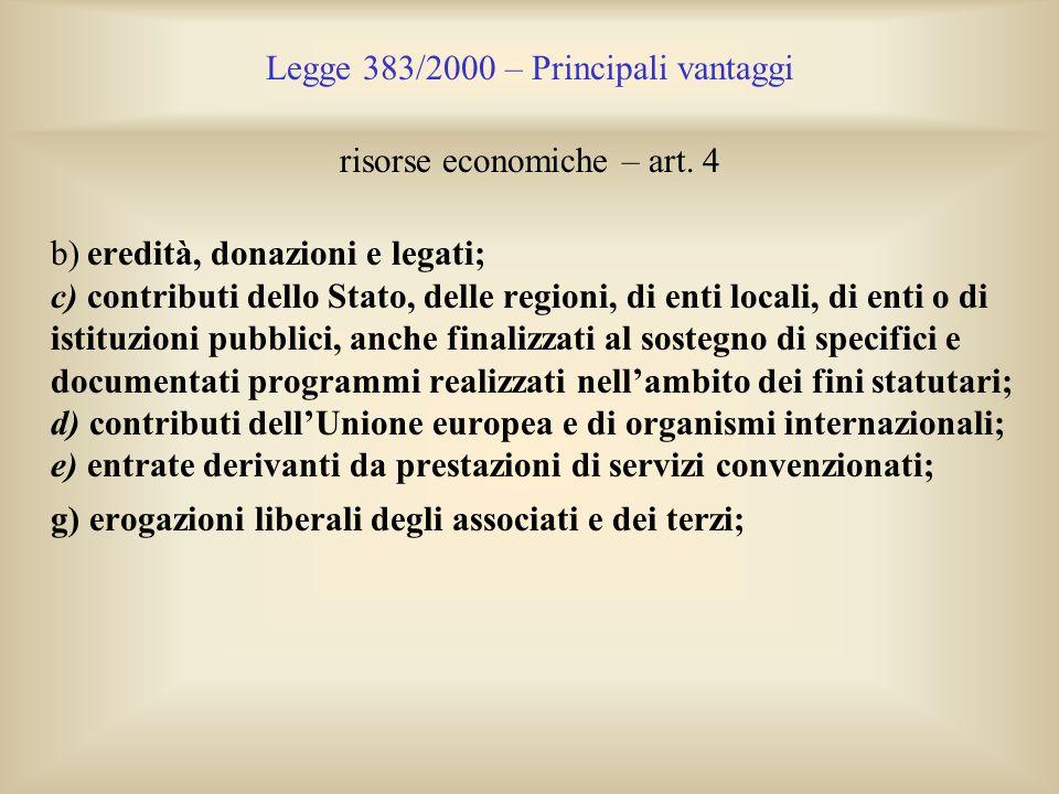 Legge 383/2000 – Principali vantaggi