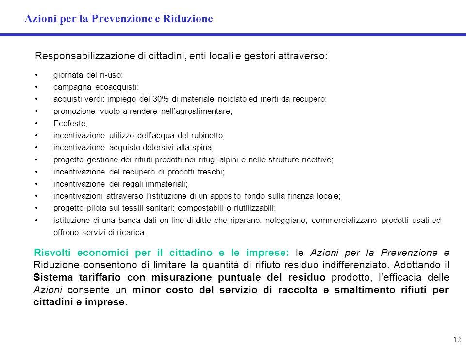 Azioni per la Prevenzione e Riduzione
