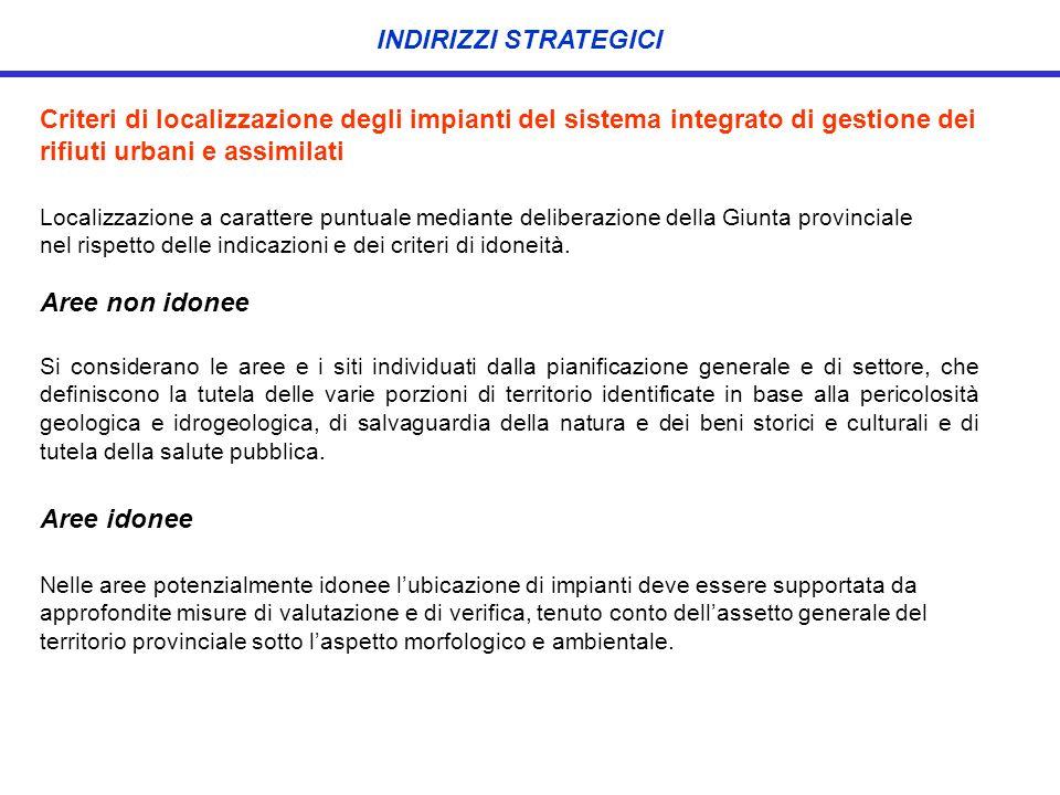 INDIRIZZI STRATEGICI Criteri di localizzazione degli impianti del sistema integrato di gestione dei rifiuti urbani e assimilati.