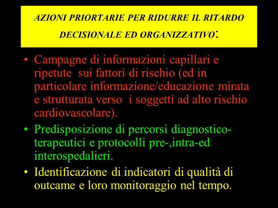 AZIONI PRIORTARIE PER RIDURRE IL RITARDO DECISIONALE ED ORGANIZZATIVO: