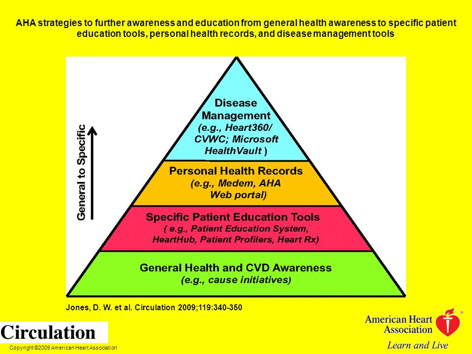 AHA strategies to further awareness and education from general health awareness to specific patient education tools, personal health records, and disease management tools