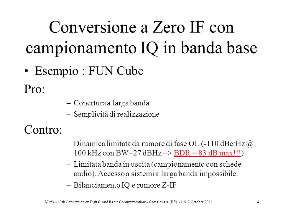 Conversione a Zero IF con campionamento IQ in banda base