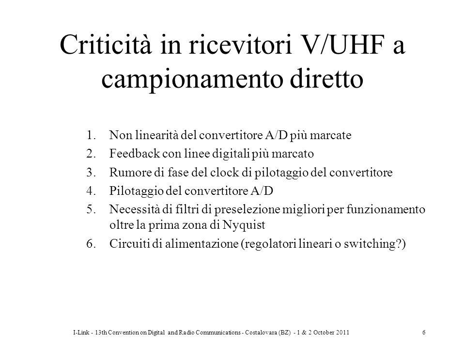 Criticità in ricevitori V/UHF a campionamento diretto